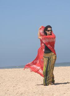 Free Beautiful Brunette On The Beach Stock Photo - 10320780