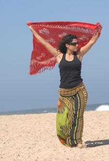 Free Beautiful Brunette On The Beach Stock Photo - 10320790