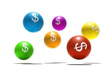 Isolated Spheres With Dollar Symbol Stock Photography