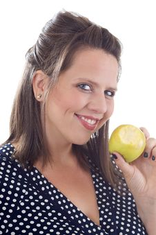 Free Young Smiling Woman Holding An Apple Stock Images - 10322004