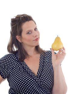 Free Young Woman Holds A Pear; Isolated Royalty Free Stock Photos - 10322068