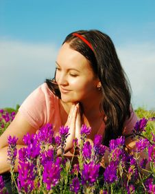Free Young Woman In The Field Of Violet F Stock Image - 10322931