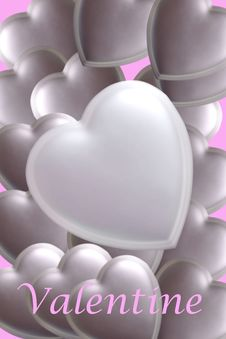 Silver Hearts Stock Photography