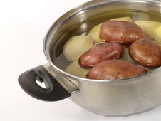 Free Fresh Raw Potatoes Into The Steel Pan. Royalty Free Stock Photo - 10324715