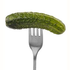 Free Fresh Green Cucumber On The Fork. Stock Images - 10324854