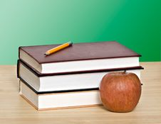 Free Apple And Pencil On Top Of Books Royalty Free Stock Images - 10326289