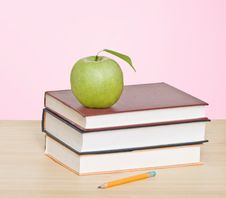 Free Apple And Pencil On Top Of Books Royalty Free Stock Photos - 10326358
