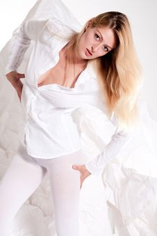Free Beautiful Blond Girl Dressed Completely In White Stock Photos - 10326703