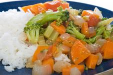 Stir-fried Vegetables And Rice Royalty Free Stock Photos