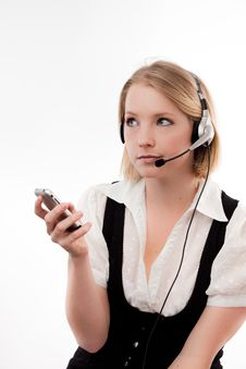 Free Young Woman Headset And Mobile Royalty Free Stock Photography - 10329817