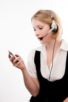 Free Young Woman Headset And Mobile Royalty Free Stock Images - 10329819