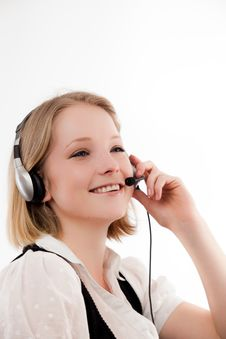 Free Young Woman With Headset Stock Photos - 10329823