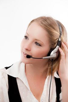 Free Young Woman With Headset Stock Photo - 10329840
