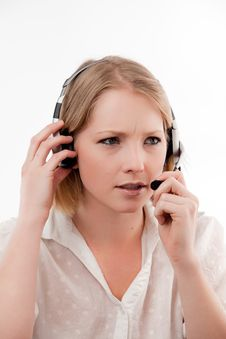 Free Young Woman Wearing Headset Stock Images - 10329854