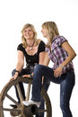 Free Mother And Daughter With Car-wheel Royalty Free Stock Photography - 10334207