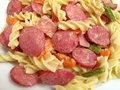 Free Fusilli With Hot Dog Slices And Vegetables Royalty Free Stock Images - 10337879