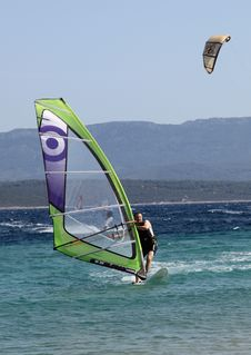 Windsurfing @ Brac Island, Croatia Royalty Free Stock Photography