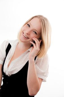 Free Young Woman On Mobile Stock Image - 10330401