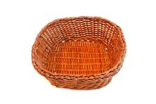 Free Empty Orange Wicker Basket Isolated Stock Photography - 10330602