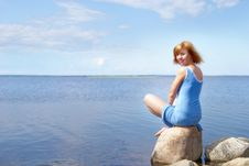Free Woman On The Shore Stone Royalty Free Stock Images - 10330619
