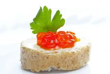 Red Caviar Open Sandwich Stock Image