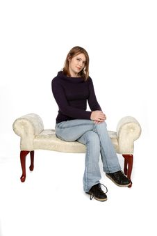 Free Sweet Looking Teenage Girl Sitting On White Bench Stock Photo - 10331870