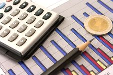 Money, Pencil And Calculator On Diagram Royalty Free Stock Photo