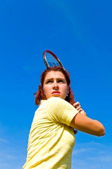 Free Girl Playing Tennis Stock Image - 10332701