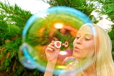 Free Girl Blow Bubbles Stock Image - 10332821