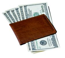 100 Dollar Bills Inside Brown Wallet Stock Image