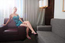 Free Brunette Wearing Turquoise Dress Stock Photos - 10333553