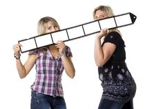 Mother And Daughter Holding Film Strip Stock Photos