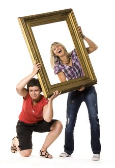 Free Young Women Posing With Picture Frame Stock Image - 10334221