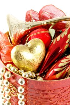 Free Gold And Red Christmas Decorations Royalty Free Stock Photos - 10334588