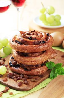 Sweet Pastry Rolls With Raisins Royalty Free Stock Images
