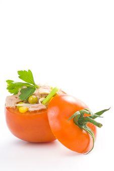 Free Tuna Stuffed Tomato Celery Corn Soya Bean Royalty Free Stock Image - 10335506