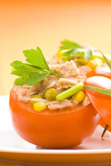 Free Tuna Stuffed Tomato Celery Corn Soya Bean Royalty Free Stock Images - 10335649