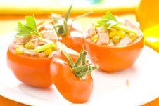 Free Tuna Stuffed Tomato Celery Corn Soya Bean Stock Images - 10335664