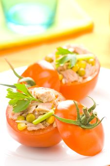 Tuna Stuffed Tomato Celery Corn Soya Bean Royalty Free Stock Photography