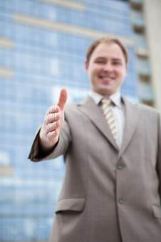 Free Businessman Saying Welcome Stock Photography - 10335792