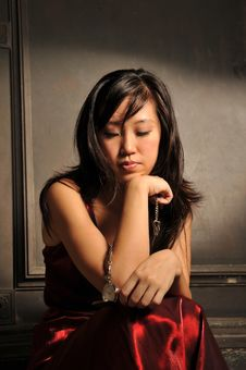 Moody Beautiful Young Asian Woman Stock Image