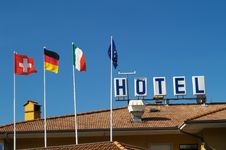 Free Hotel Roof With Flags Royalty Free Stock Photo - 10336645