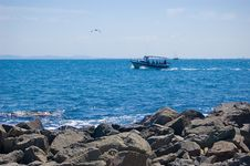 Free Sea Shore And A Ship Royalty Free Stock Photos - 10338008