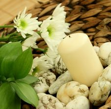 Spa Concept. Candle, Stones And Flowers. Stock Photo