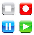 Free Square Colorful Buttons With Playback Icon Royalty Free Stock Images - 10345089