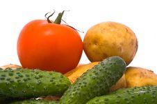Free Fresh Tomato, Cucumbers And Potatoes Stock Photography - 10340852