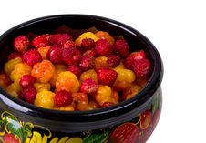 Berries In Khokhloma Bowl Stock Photography