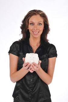 Free Businesswoman Holding A Piggy Bank Stock Images - 10341484