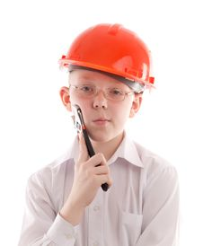 Free Teenager In Protective Helmet Hold Spanner Royalty Free Stock Photography - 10346797