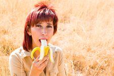 Free Woman Eating A Banana Royalty Free Stock Photos - 10346938
